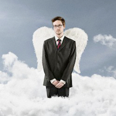 Angel in a business suit standing on a cloud